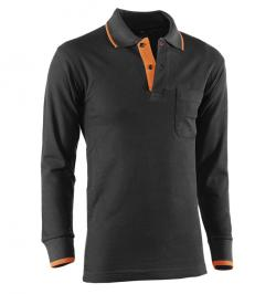 POLO M/L TOP RANGE NEGRO/NARANJA 618 XL
